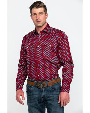 Roper Men's Burgundy Amarillo Small Geo Print Long Sleeve Western Shirt , Burgundy, hi-res