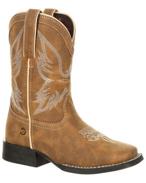 Durango Boys' Lil' Mustang Western Boots - Square Toe, Distressed Brown, hi-res