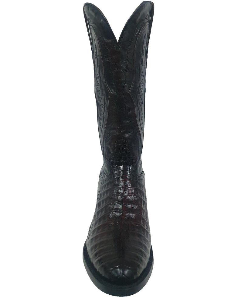 El Dorado Men's Caiman Belly Western Boots - Round Toe, Black Cherry, hi-res