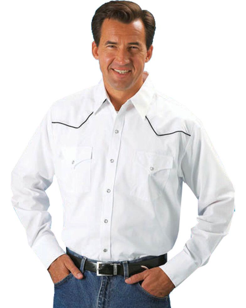 Ely Cattleman Men's White Piped Yoke Long Sleeve Western Shirt, White, hi-res