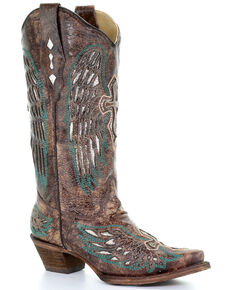 Corral Women's Brown Wings & Cross Western Boots - Snip Toe, Brown, hi-res