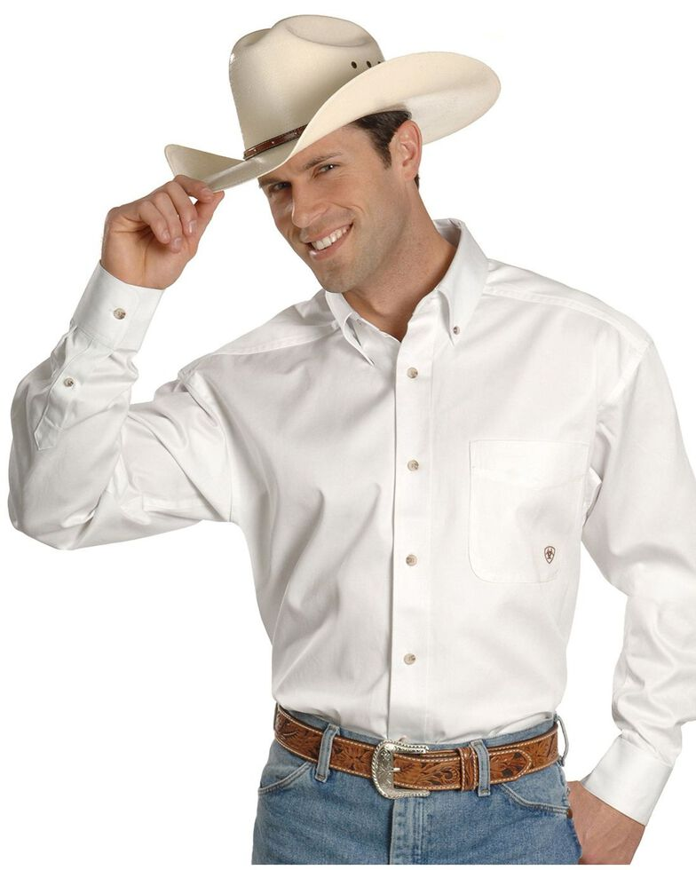 Ariat Men's Solid Twill Long Sleeve Western Shirt - Big & Tall, White, hi-res