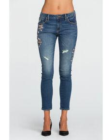 Miss Me Women's Botanical Babe Mid-Rise Ankle Skinny Jeans  , Indigo, hi-res