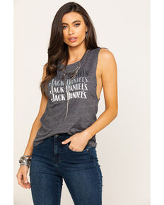 Jack Daniel's Women's Grey Logo Ombre Muscle Tank Top, Grey, hi-res