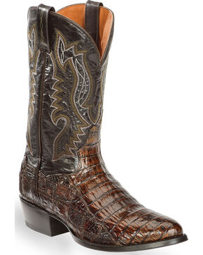 Dan Post Men's Everglades Brown Belly Caiman Cowboy Boots - Round Toe, Dark Brown, hi-res