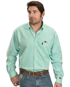 Cinch Light Green Flame Resistant Work Shirt, Green, hi-res