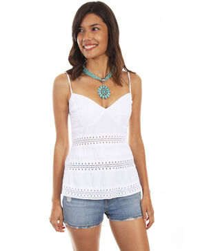 Cantina by Scully Women's White Spaghetti Strap Top , White, hi-res