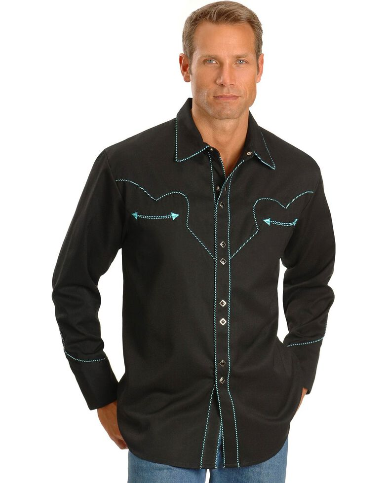 Scully Men's Long Sleeve Western Shirt, Black, hi-res