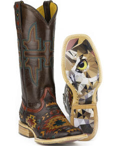 Tin Haul South by SW Cowgirl Boots - Square Toe, Multi, hi-res