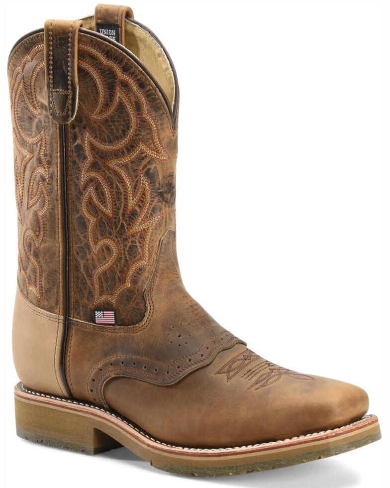 Double-H Men's Steel Square Toe Western Boots, Bark, hi-res