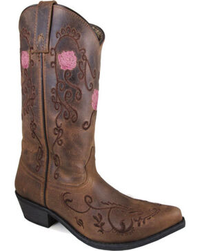 Smoky Mountain Women's Brown Rosette Leather Boots - Snip Toe , Brown, hi-res