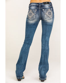 Miss Me Women's Medallion Pocket Med Boot Jeans , Blue, hi-res