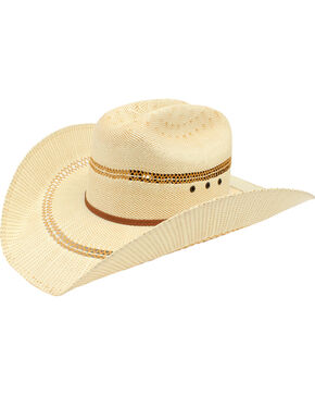 Ariat Double S Bangora Straw Cowboy Hat, Tan, hi-res
