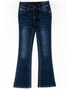 Shyanne Girls' Aztec Bootcut Jeans, Blue, hi-res