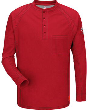 Bulwark Men's Red iQ Series Flame Resistant Henley Shirt - Big & Tall, Red, hi-res