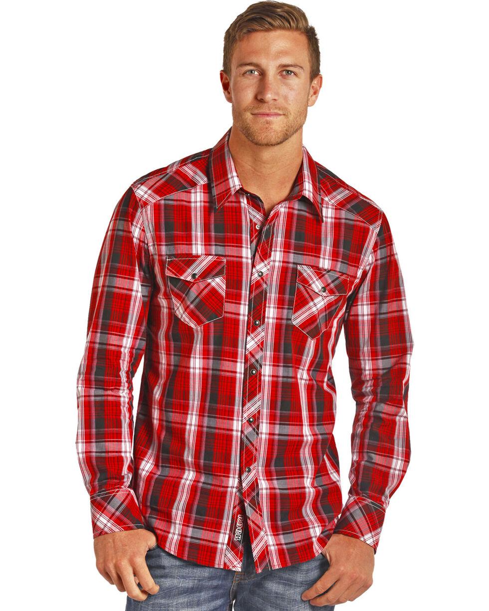 Rock & Roll Cowboy Men's Light Bleached Wash Plaid Shirt, Red, hi-res