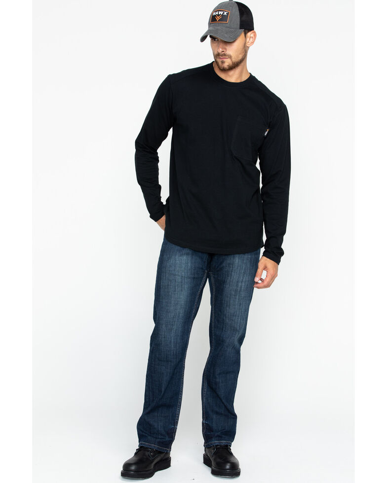 Hawx Men's Logo Crew Long Sleeve Work T-Shirt - Tall , Black, hi-res