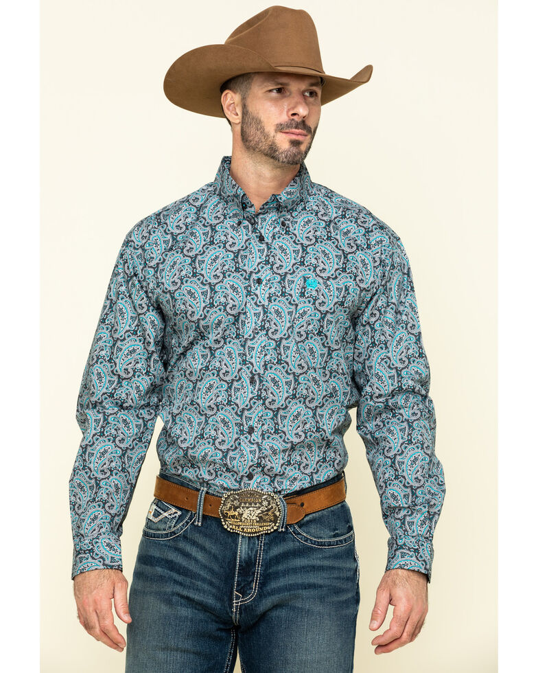 Cinch Men's Grey Paisley Print Long Sleeve Western Shirt , Grey, hi-res