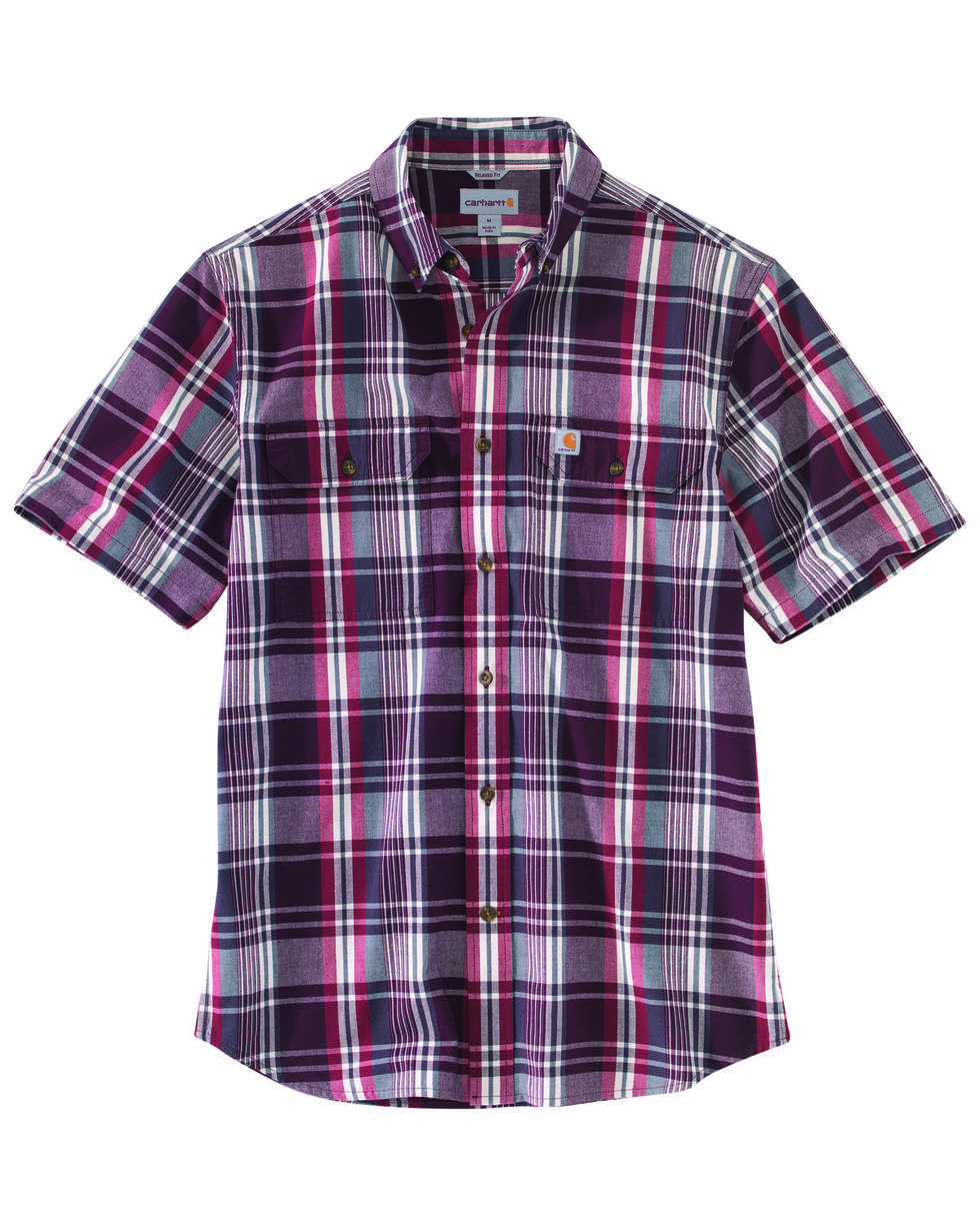 Carhartt Men's Rugged Flex Rigby Short Sleeve Plaid Work Shirt - Tall , Red, hi-res