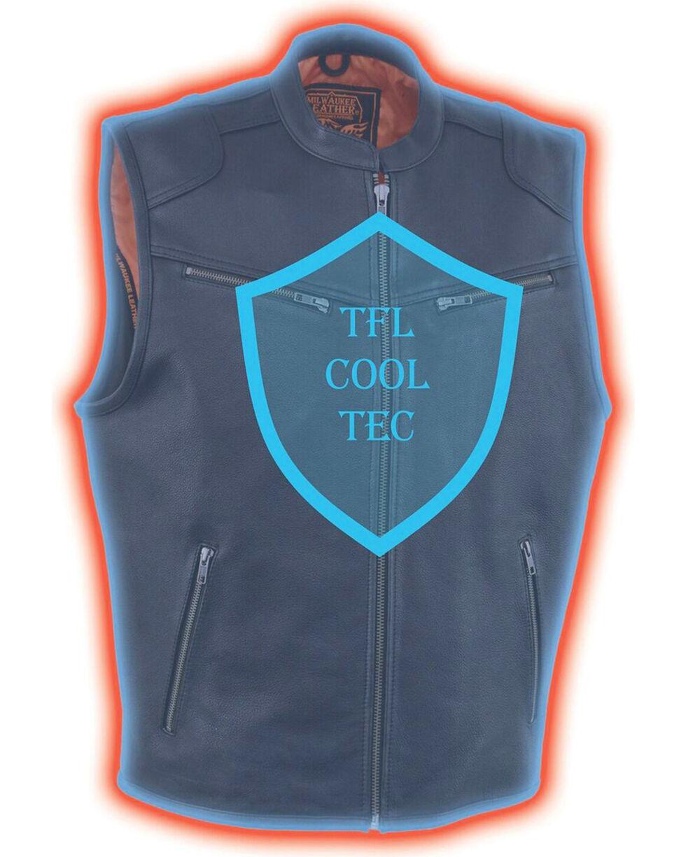 Milwaukee Leather Men's Black Cool Tec Leather Vest , Black, hi-res
