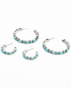 Idyllwind Women's Wheels Turquoise Hoop Earrings Set, Turquoise, hi-res