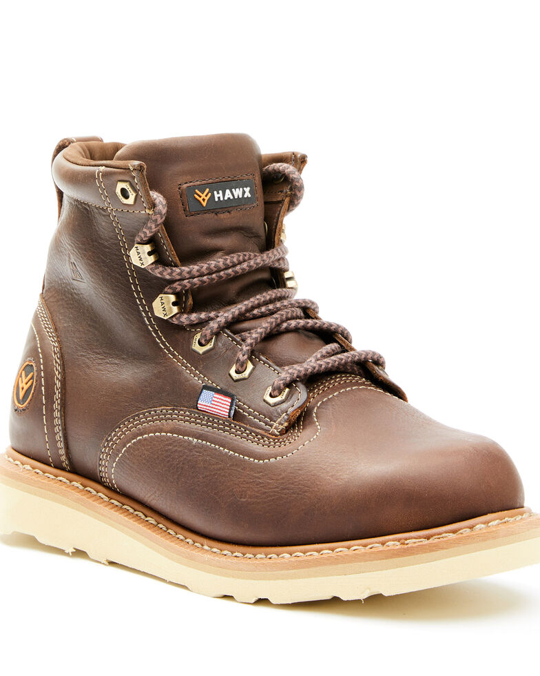 Hawx Men's Brown USA Wedge Work Boots - Soft Toe, Brown, hi-res