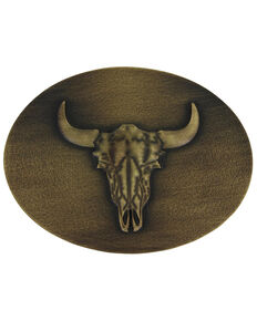 Montana Silversmiths Heritage Defined Buffalo Skull Attitude Buckle, Bronze, hi-res