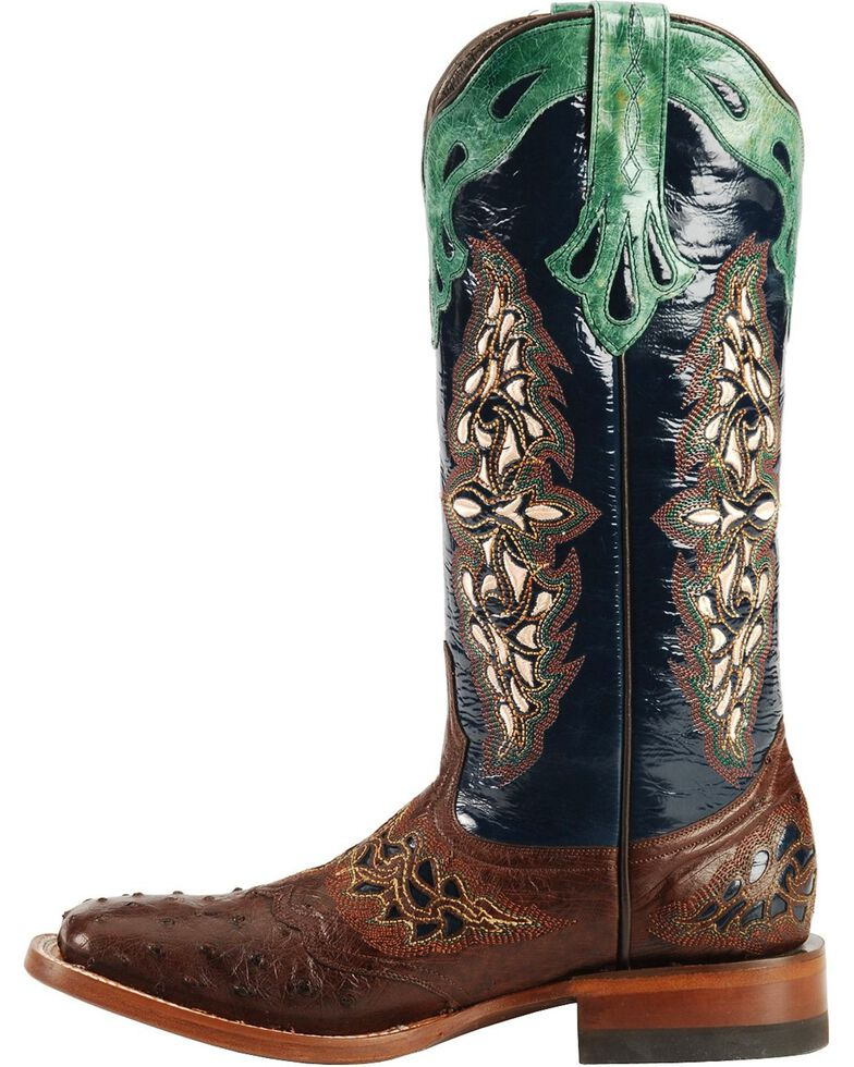 Lucchese Women's Handmade 1883 Amberlyn Full Quill Ostrich Boots - Square Toe , Sienna, hi-res