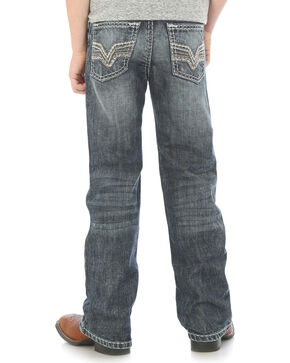 Rock 47 by Wrangler Boys' Slim Fit Boot Cut Jeans, Indigo, hi-res