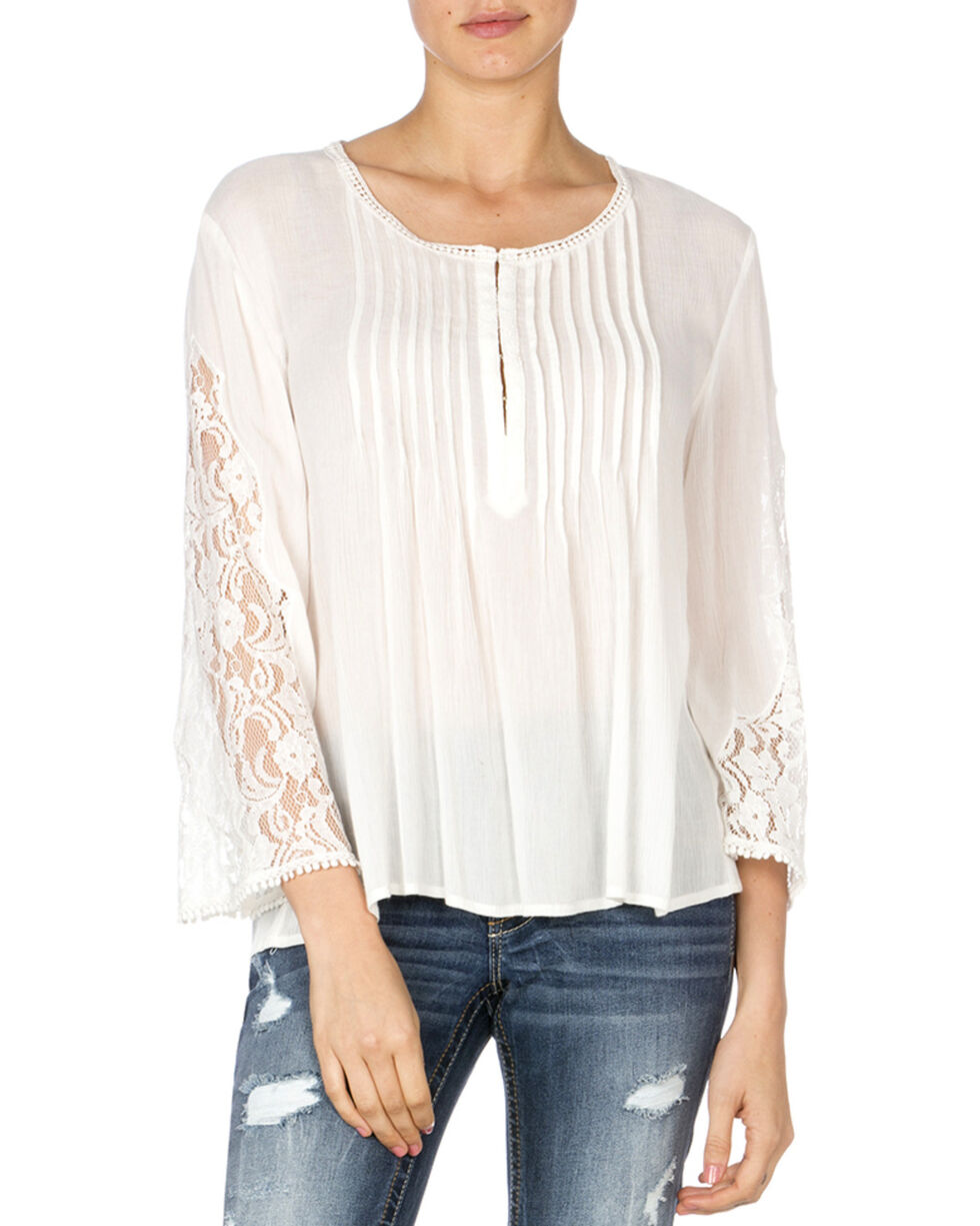 Miss Me Women's Pleated Lace Sleeve Top, Off White, hi-res