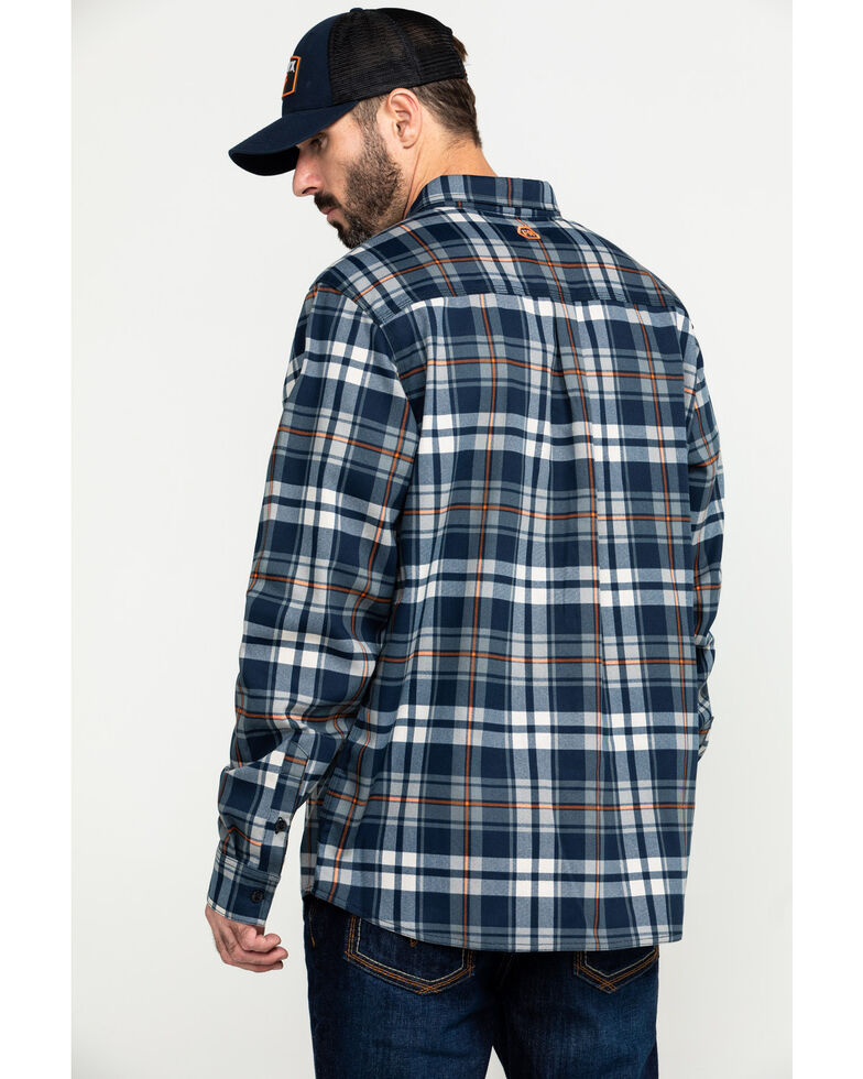 Hawx Men's Blue FR Plaid Long Sleeve Woven Work Shirt , Blue, hi-res