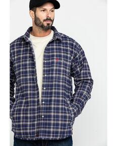 Ariat Men's FR Monument Plaid Work Shirt Jacket - Big , Navy, hi-res