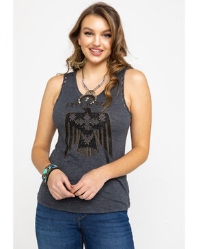 Idyllwind Women's Free Spirit Muscle Tank , Charcoal, hi-res