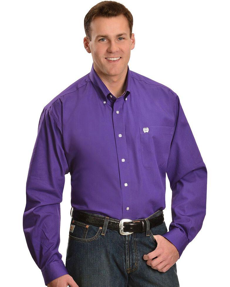 Cinch Men's Solid Purple Button-Down Western Shirt, Purple, hi-res