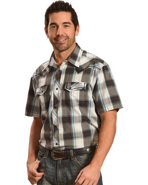 Moonshine Spirit Plaid Short Sleeve Western Shirt, Multi, hi-res