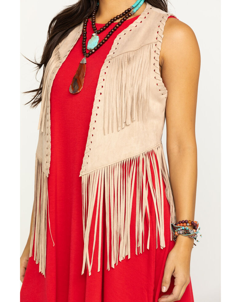 Ariat Women's Tan Bluegrass Fringe Vest, Beige/khaki, hi-res