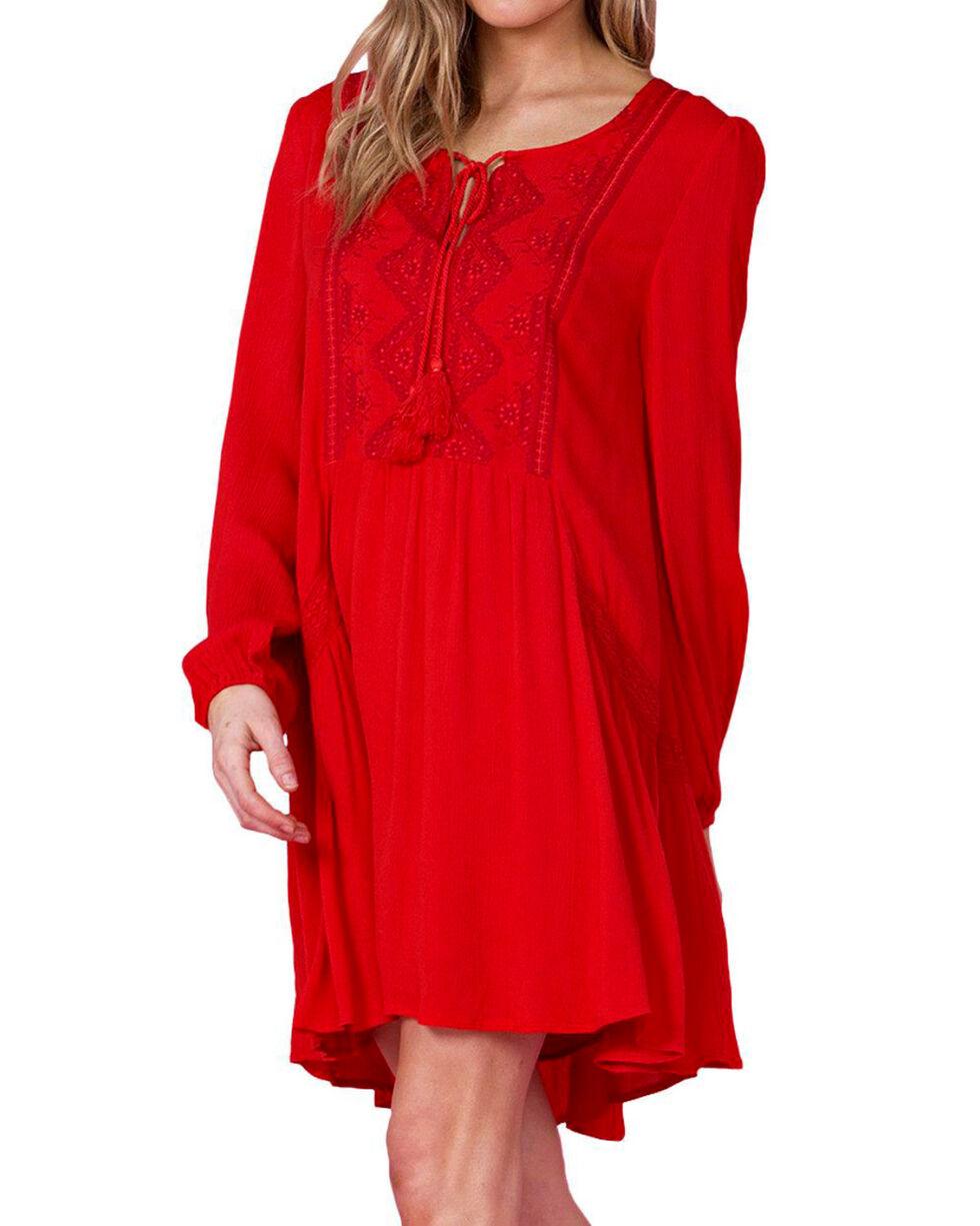 Miss Me Women's Red Peasant Dress, Red, hi-res