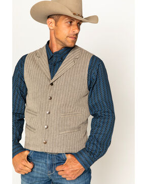 Cody James Men's Herringbone 4-Pocket Vest, Tan, hi-res