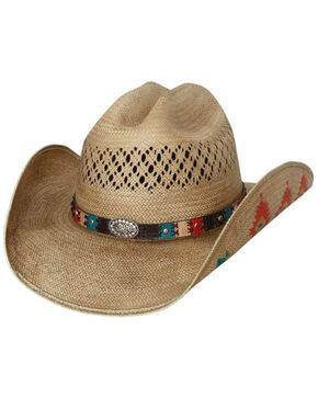 Bullhide Women's Custer Trail Painted Aztec Cowgirl Hat, Natural, hi-res