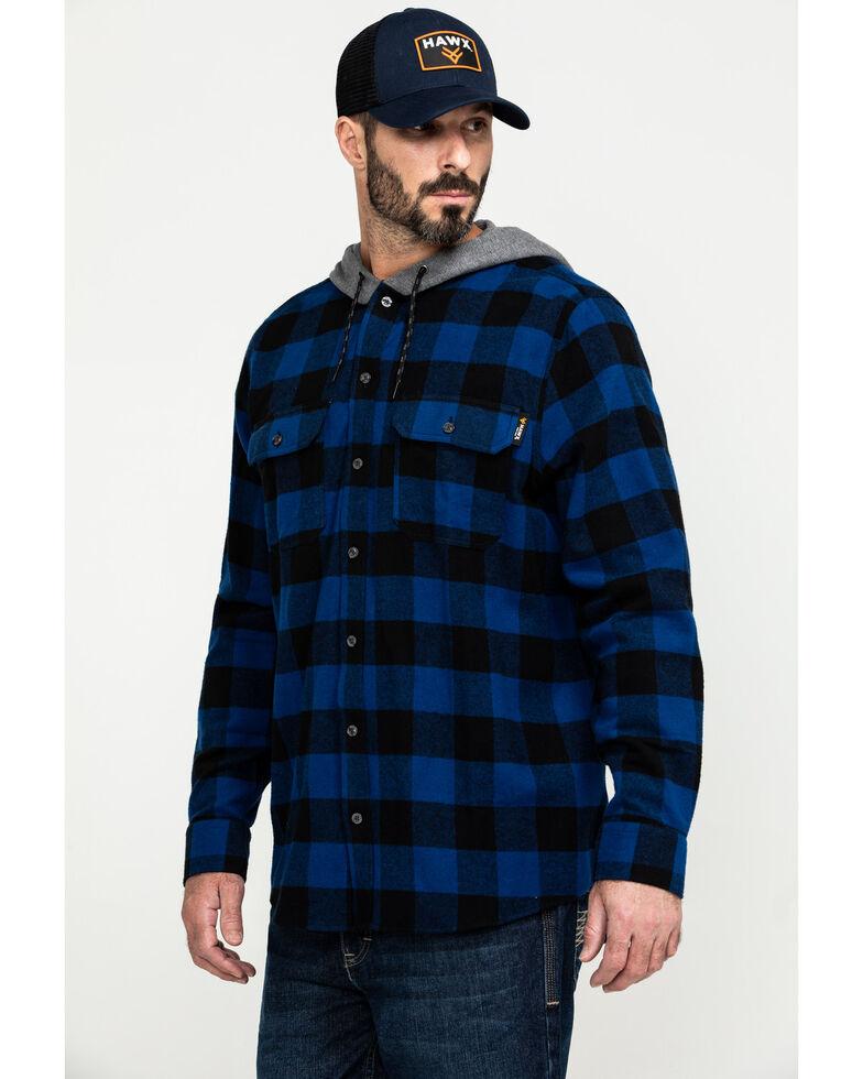 Hawx Men's Blue Monteta Plaid Hooded Long Sleeve Shirt Work Jacket, Blue, hi-res