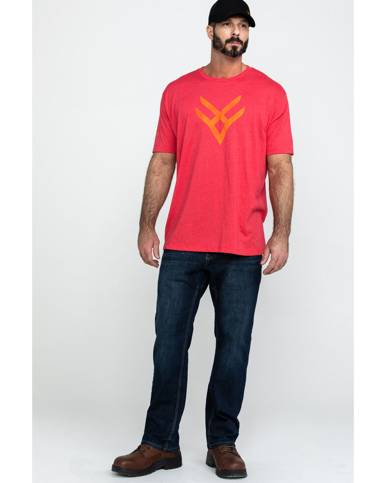 Hawx® Men's Red Logo Graphic Work T-Shirt , Heather Red, hi-res
