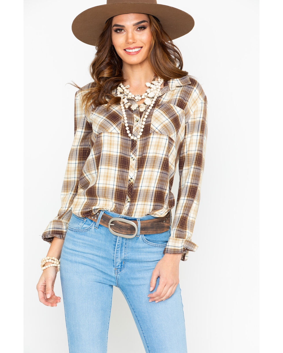 White Crow Women's Plaid Cropped Tail Flannel Western Shirt , Brown, hi-res