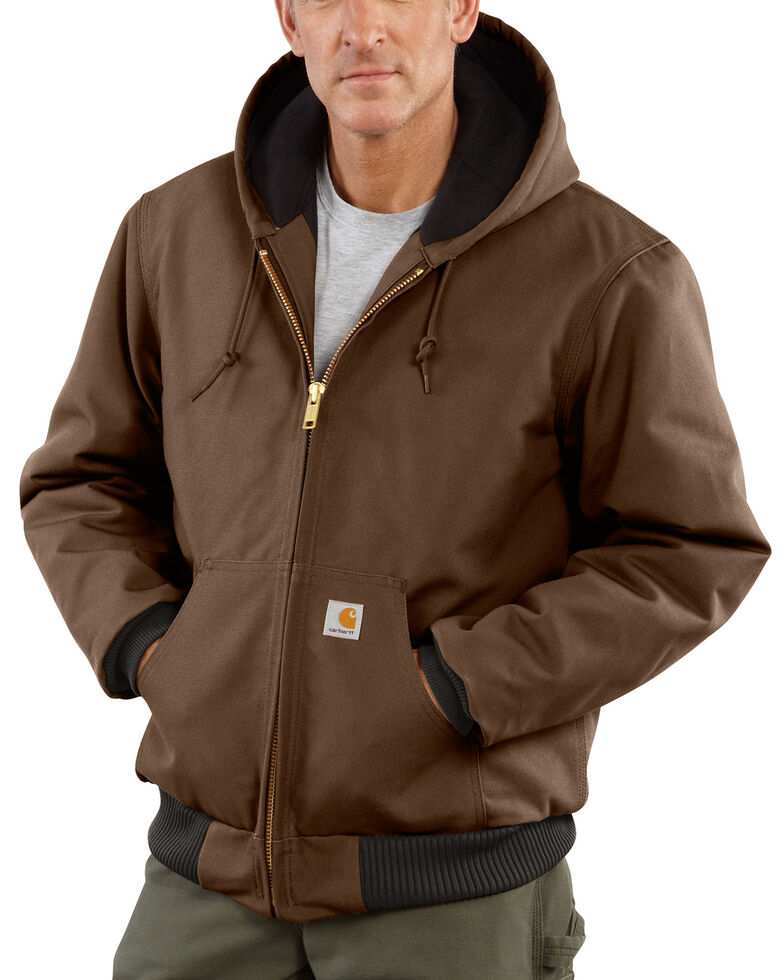 Carhartt Men's Quilted Flannel Lined Duck Active Work Jacket, Chocolate, hi-res
