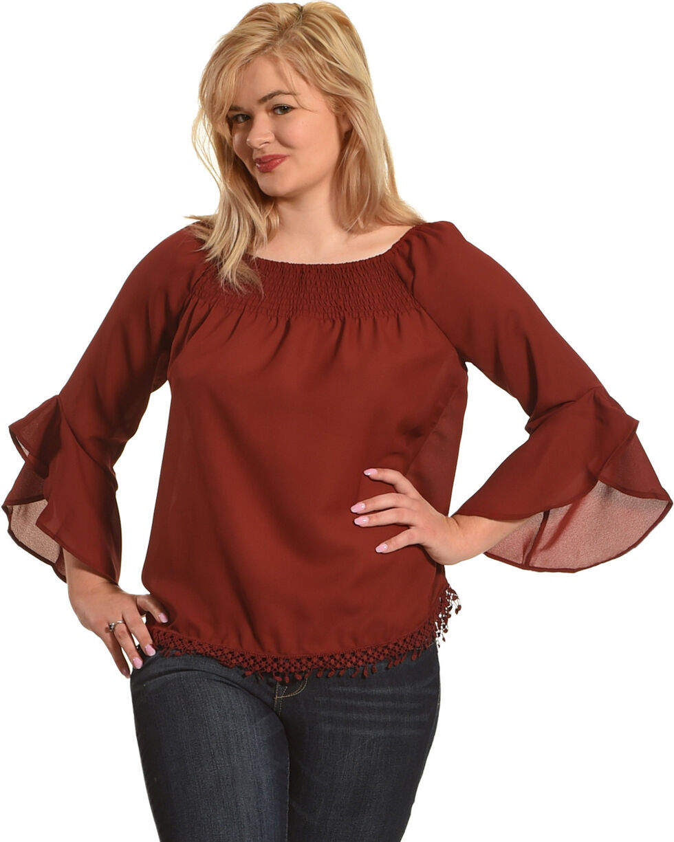 Tanzara Women's Pompom Trim Peasant Top, Dark Red, hi-res