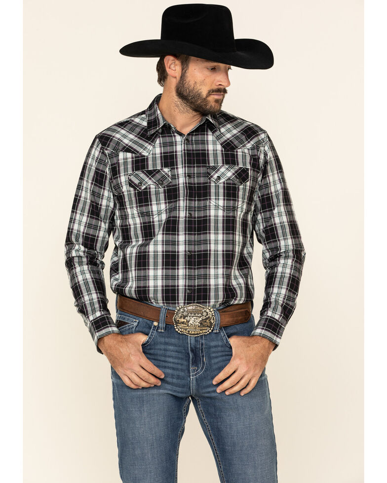 Cody James Men's Willow Plaid Long Sleeve Western Shirt , Black/blue, hi-res