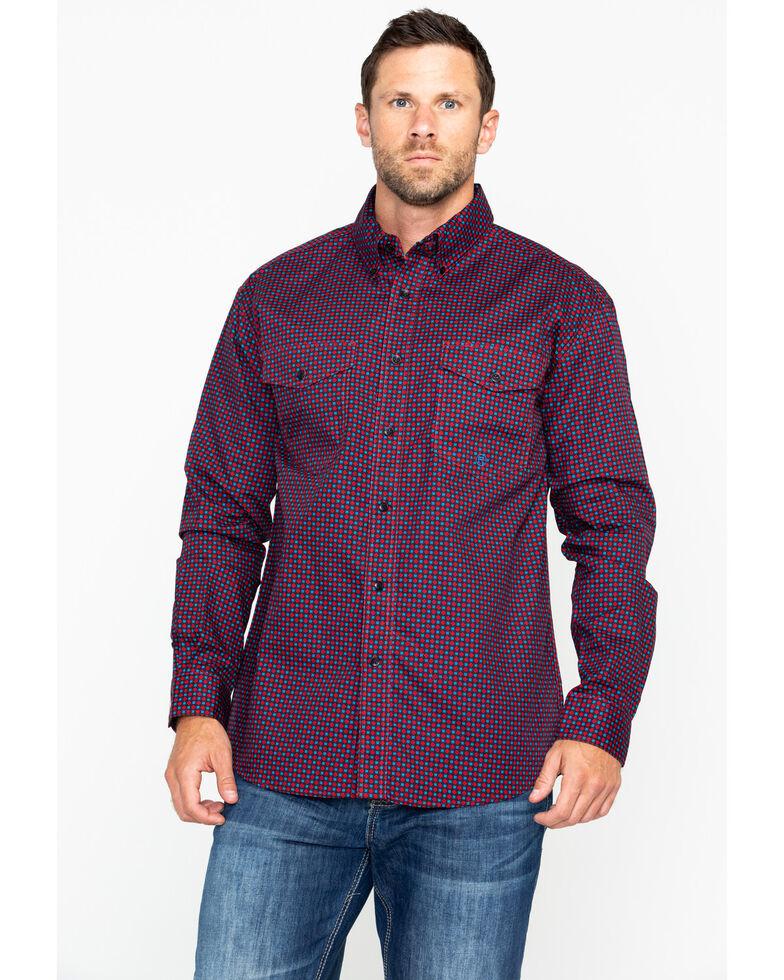 Roper Men's Red Geo Print Long Sleeve Western Shirt , Red, hi-res