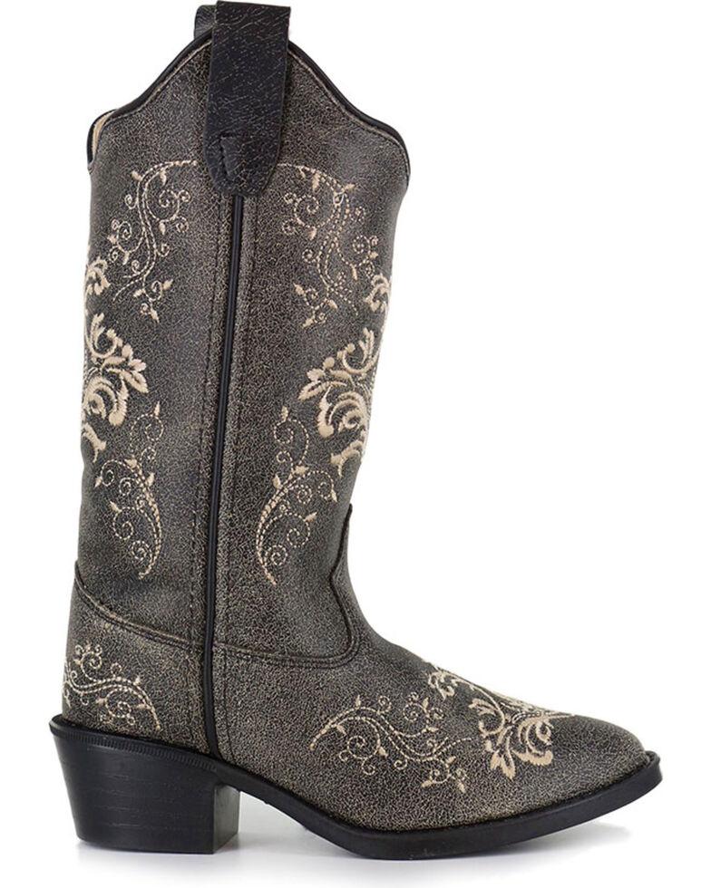 Shyanne® Girls' Filigree Embroidered Western Boots, Grey, hi-res