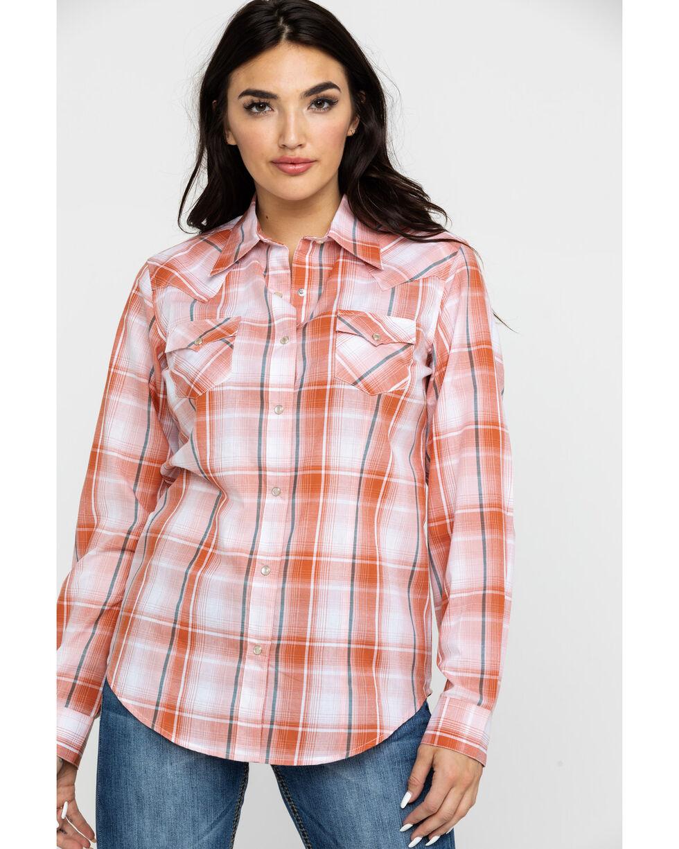 Wrangler Women's Rust Plaid Long Sleeve Western Shirt , Rust Copper, hi-res
