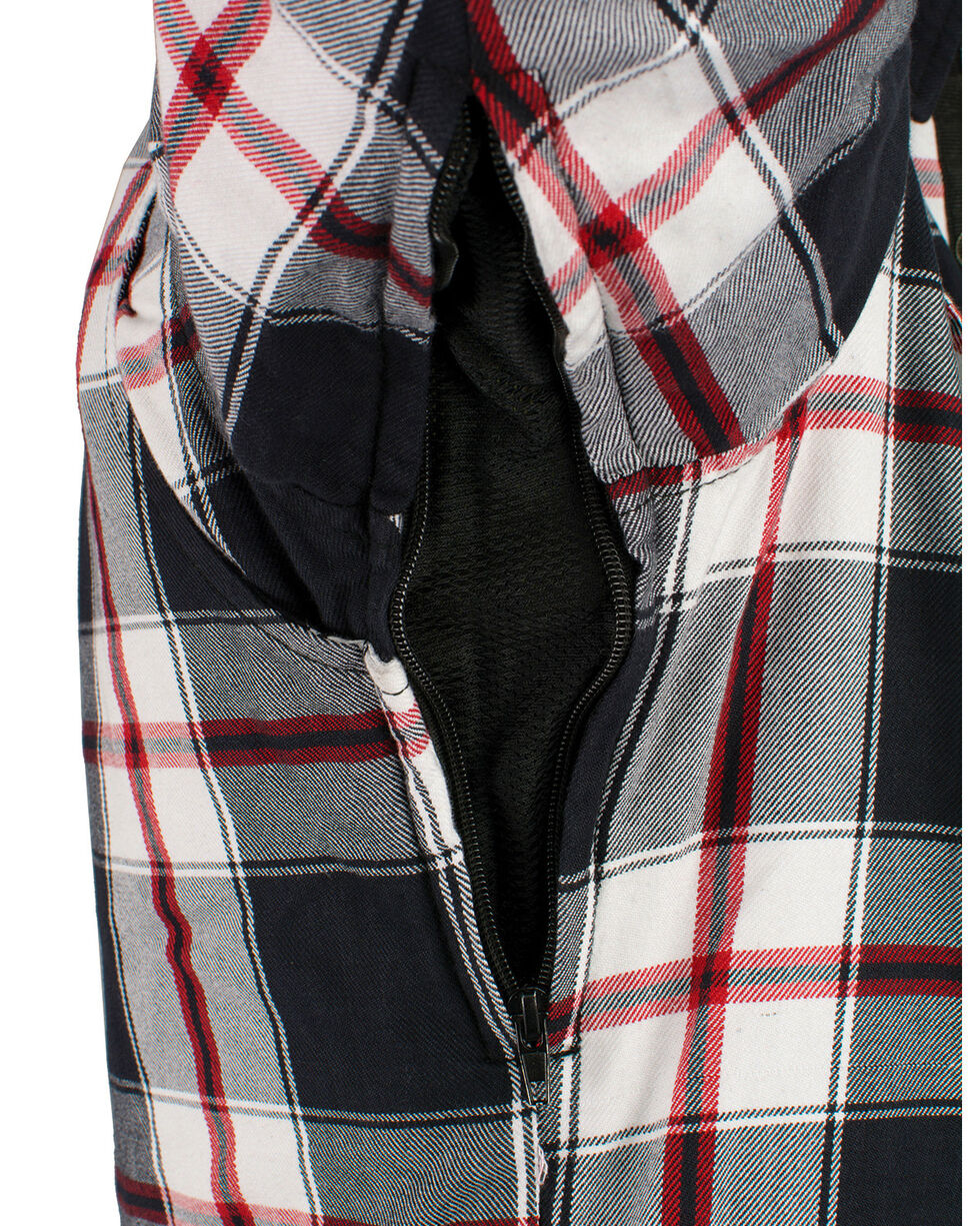 Milwaukee Performance Men's Aramid Reinforced Plaid Flannel Biker Shirt - Big & Tall, Black/red, hi-res