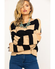Show Me Your Mumu Women's Black & Tan Scholar Hubble Stripe Knit Sweater, Black, hi-res
